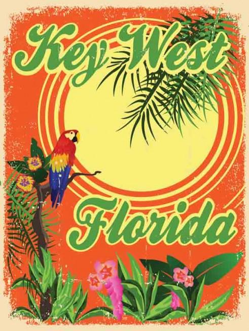 Key West Parrot Original Metal Sign Company